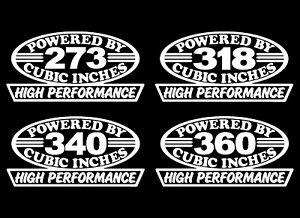 2 HP SMALL BLOCK V8 DECALS 273-318-340-360 CID EMBLEM 5.9 4X4 5.2