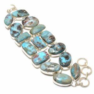 "Republic Larimar Gemstone Handmade Ethnic Gift Bracelet 7-8"" RL-21968"