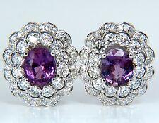 $17000 GIA 5.40CT NO HEAT VIVID PURPLE PINK SAPPHIRES DIAMOND EARRINGS UNHEATED