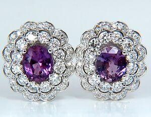 GIA 5.40CT NO HEAT VIVID PURPLE PINK SAPPHIRES DIAMOND EARRINGS UNHEATED+