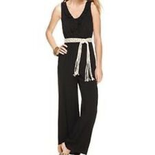 AGB women jumpsuit linen crochet belt size L