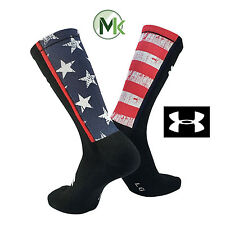 Under Armour USA Stars and Stripes Black Elite Crew Socks Large NEW