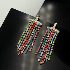 Pendiente`Orejas CLIPS ON Dorado Flecos Cristal Multicolor Brillante Super B4