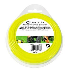 2.0mmx15m SQUARE NYLON GARDEN HEDGE HAND GRASS STRIMMER TRIMMER LINE WIRE REFILL