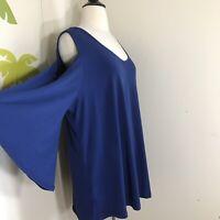 Carmen Marc Valvo Women's Plus Size Navy Blue Cold Shoulder Blouse Top Sz 2X NWT