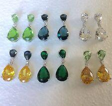 P Designer 30x12mm pear drop dangle silver/white gold fill earrings Plum UK BOXD