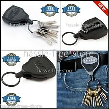 Retractable Key Tool Reel Holder Steel Belt Clip Chain Heavy Duty Locking 48