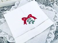 Christmas Cotton Linen White Tea Towel Embroidered Red Bow w/ Mistletoe NEW