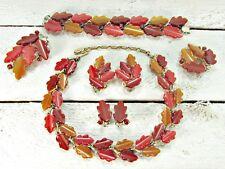 Vintage LISNER Thermoset Fall Oak Leaf Grand Parure Set- Necklace Bracelet Pin