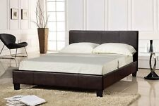 Faux Leather BROWN Double Bed Frame 4ft6 Prado