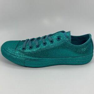 Converse Chuck Taylor CTAS Ox Green Glitter Mens Size 7 Womens Size 9 164813C