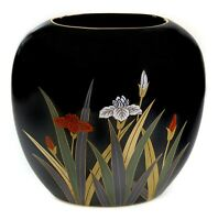 "Otagiri Black Iris Flower Wide Oval Vase Gold Trim Red Blue Floral Pattern 7.25"""