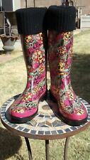 Ed Hardy Rain Boots, Women's Size 9, Skulls/Flowers, Multi-color, Knit Top