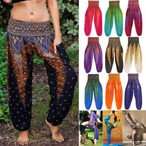One Size Fits All Thai Handmade Light Green Flower Pattern long pants with pockets Hippie Pants  Yoga Pants Gypsy Pants Boho Pants Women H