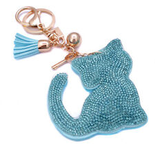 Fashion 800+ Crystals Rhinestones Blue Cute Cat For Women Keyring Handbag Bag