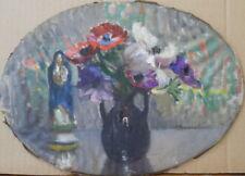 Marie REOL (1880-1963) huile/ toile marouflé/bois Bouquet de Fleurs