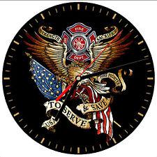"""8"""" WALL CLOCK - FIREFIGHTER 32 Fireman Fire Dept Man Hero Responder Emergency"""