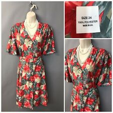 Vintage Red Floral Polyester Dress UK 24 EUR 52 Made in UK