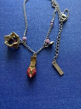 Anna Sui Signed Necklace Cinderella Slipper Princess Crown, Made in Japan