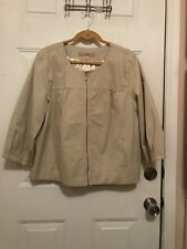 Motto Fully Lined Cotton Twill Zip Front Cropped Jacket, Khaki color, size XL