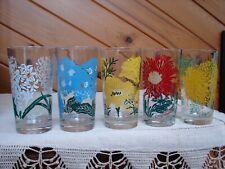 5 Boscul Peanut Butter Glass - Hyacinth Primrose Ca Poppy Red & Yellow Chrysanth