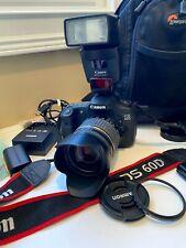 New ListingCanon Eos 60D 18.0Mp Digital Slr Camera Kit Speedlite Flash Pro Case Remote More