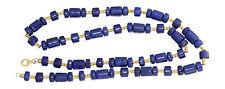 61 cm Lapiskette mit Gold 750 und 585 Halskette Lapis Lazuli exclusives Collier