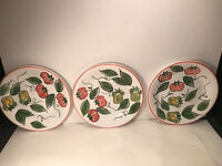 3 PIER 1 TOMATO AND GREEN PEPPER hand painted DINNER PLATES 9 1/2''