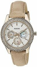 Fossil Women's ES3104 Stella GMT White Dial Tan Leather Watch