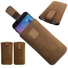 1A ECHT LEDER Slim Cover Case Schutz Hülle Tasche Etui für THL Knight 2 BRAUN