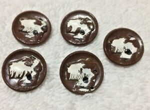 Set Of 5 Vintage Dog (Fox Terrier)  Buttons (Brown Glass) 3/4 Inch Diameter