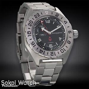 New Mens Military Automatic Watch Vostok Komandirskie 650539 Black Dial (20 ATM)
