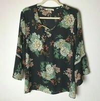 Liberty Love Women's Top Size 2XL Floral 3/4 Flare Sleeves Black Red Pink Green