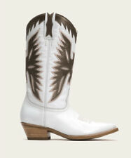 Frye Carrie Firebird Leather Slip On Western Boots Women's US 7 White NEW $528
