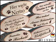Türschild mit Wunschtext Gravur Geschenk Namensschild Rinde Holz Schild Name Tür