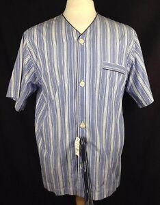 Brooks Brothers Men's Short Sleeve Blue striped Pajama Shirt Top Navy Trim Small