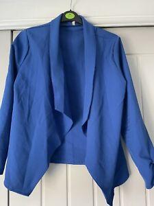 Size 12 Blue Blazer, Duster Jacket, Waterfall Jacket