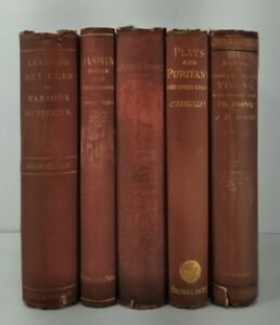 1871-1891~CHARLES KINGSLEY~Red 5 Book Lot~Very Old Antique Set~Home Decor