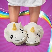 Slip On Adult Size Fantasy White Unicorn Plush Cotton Slippers Indoor Shoes -8C