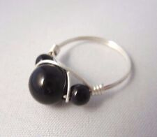 BLACK ONYX BEAD HANDMADE 925 STERLING SILVER RING SIZE L / US 5.5 NEW