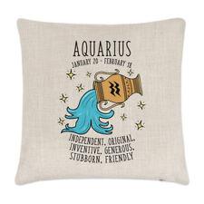 Aquarius Horoscope Linen Cushion Cover Pillow - Horoscope Star Sign Zodiac