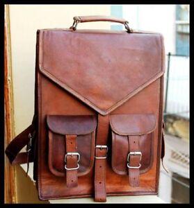 Männer Frauen Vintage Leder Rucksack Schulranzen Laptop -Umhängetasche