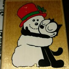 Felix the cat, hugging snowman, inkadinkado,501,rubber, wood