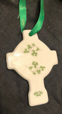 "VINTAGE ROYAL TARA FINE BONE CHINA IRELAND Cross HANGING 3"" FIGURINE Ornament"