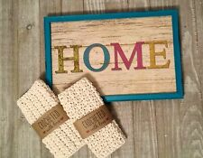 COUNTRY FARMHOUSE STYLE HOME PLAQUE CROCHET KITCHEN SET DISH CLOTH  HANDMADE NEW