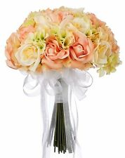 Hydrangea Rose Yellow and Peach Hand Tie Large - Silk Bridal Wedding Bouquet