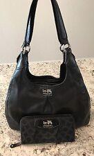 COACH MADISON MAGGIE 21225 Black Leather Shoulder Bag Purse Handbag w/ Wallet!