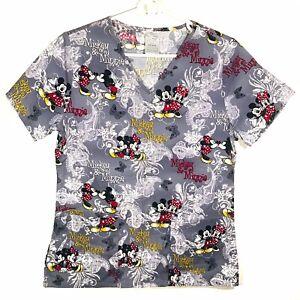 Disney Women's Extra Small Scrub Top Mickey & Minnie All Over Print