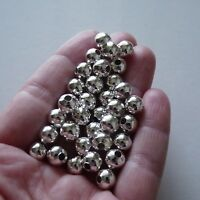 Metal Pearl Spacer Beads 6/8mm Round Jewelry Beading Supplies Silver/Gold Plated