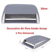 Silver Car Hood Decorative Air Flow Intake Scoop Turbo Bonnet Vent Cover 1Pcs